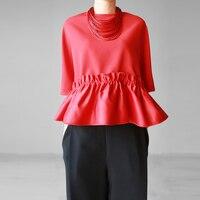 Ruffled Korean Style Women's T Shirt Summer New 2019 Bat Sleeve T Shirts Female Solid Color Wild Cotton Fashion Women Tops