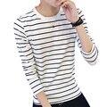 Moda Striped T Camisa Homens 2016 Outono O Pescoço Longo da Luva dos homens Camiseta Casual Slim Fit Dos Homens Tendência Roupas Top T Shirt 5XL