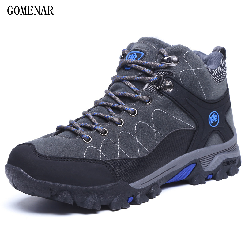 GOMNEAR Winter Men's Hiking Boots Outdoor Climbing Toutism Hunting Athletic Boot Trend Trekking Warm Velvet Sport Shoes For Male yin qi shi man winter outdoor shoes hiking camping trip high top hiking boots cow leather durable female plush warm outdoor boot