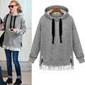 Winter Autumn 2016 Fashion Women Long Sleeve Hooded Jacket Loose Warm Hoodies Solid Sweatshirt Black gray