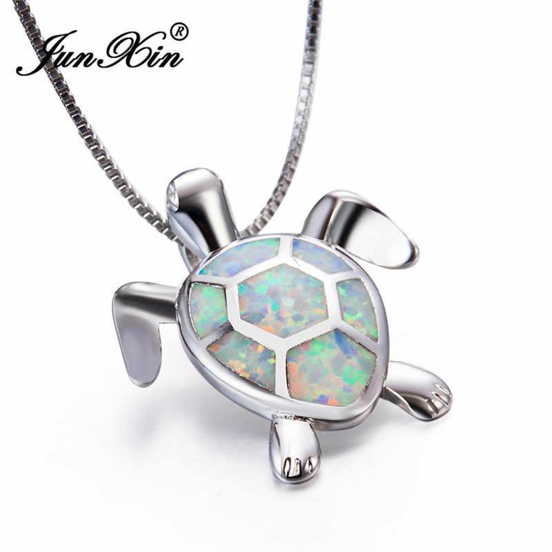 JUNXIN милый кулон черепаха 925 пробы Серебряное заполненное животное чокер Мистик Белый огненный опал Ожерелья для женщин Подарки для влюбленных