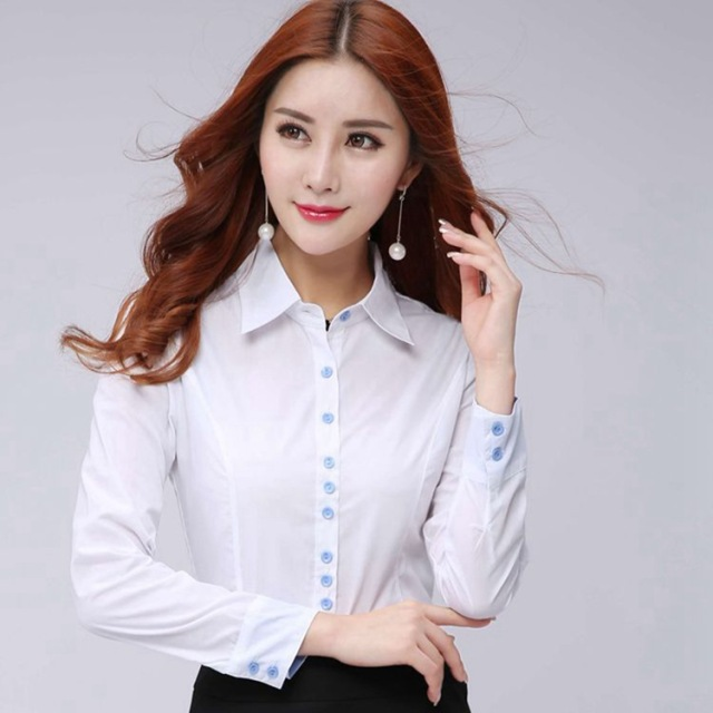 24f22f730ec0d Fashion long sleeve blouses women shirt OL Formal blouse white office  ladies plus size work wear tops Femme Blusa