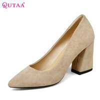 QUTAA 2018 Women Summer Shoes Flock Square High Heel Platform Woman Pumps Slip On Black Gray Ladies Wedding Shoes Size 34 43