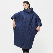 LYNETTE'S CHINOISERIE Original Design Women Autumn Winter Ultra Loose Plus Size Long Cocoon Style White Duck Down Coats Jackets