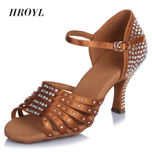 Brand High Quality Professional Women Latin Salsa party ballroom dance shoes Satin Rhinestones soft bottom heel