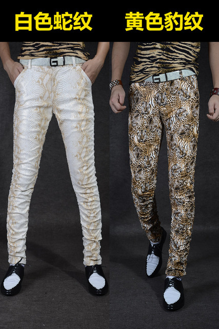 Non-mainstream Slim printing men's pu leather pants pants tide male personality boa Leopard nightclub costumes 119