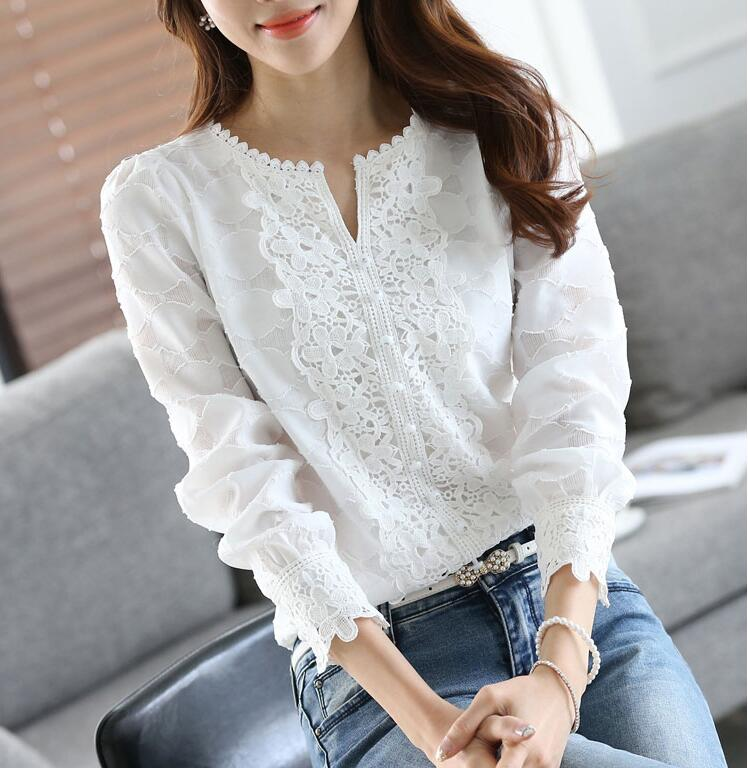 Women New Arrival Spring Basic Chiffon Blouse Shirts Ladies Lace Solid Long Sleeve Casual Tops Embroidery Plus Size