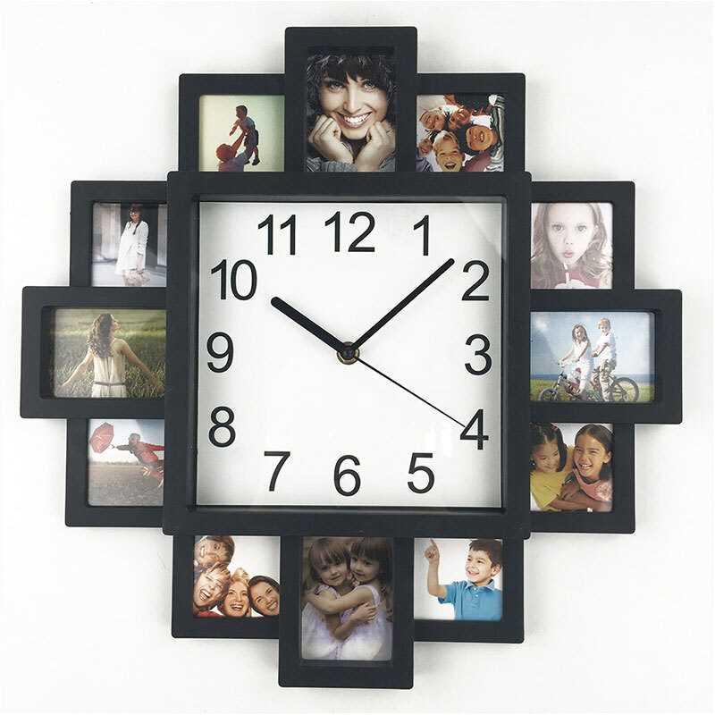 2018 New DIY Wall Clock Modern Design DIY Photo Frame Clock Plastic Art Pictures Clock Unique Home Decor Horloge