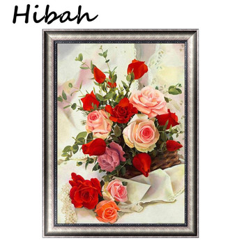 5d Yuvarlak Elmas Boyama çapraz Dikiş Kiti Kırmızı Gül çiçek Sepeti