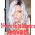 Promotion  Synthetic Wigs For Black Women 16'' Long Curly Ombre White Wig Dark Roots Ombre Grey Wig Cheap Wigs For Women