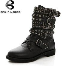 BONJOMARISA Más El Tamaño 35-43 de Las Mujeres de Vaquero Botas Militares Punk Remache Zapatos de Mujer Dos Tipos Fuera de Combate A Caballo de La Motocicleta botas