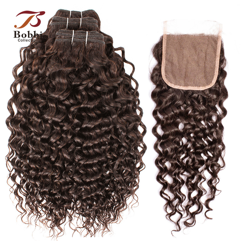 BOBBI COLLECTION Brazilian Water Wave Hair Color 2 Dark Brown 3 4 Bundles with Lace Closure