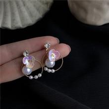 S925 Silver needle white flower jewel Pearl ear nail female Korean temperament ring geometric earrings