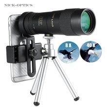 Potente telescopio professionale monoculare Zoom 8 40X40 di alta qualità portatile per caccia da campeggio Lll binocolo per visione notturna HD
