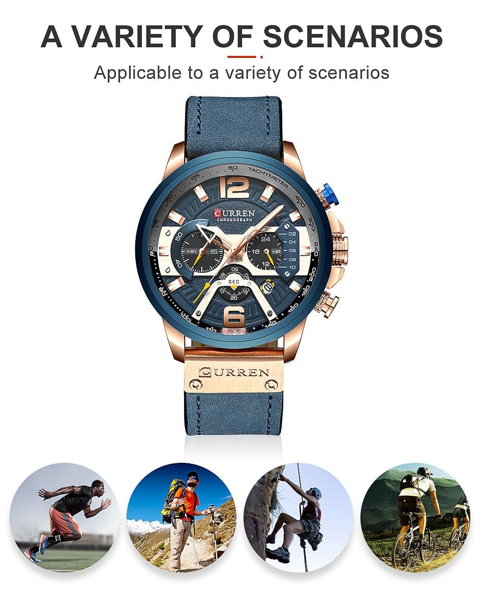 CURREN Luxury Brand Men Analog Leather Sports Watches Men's Army Military Watch Male Date Quartz Clock Relogio Masculino 2019 8