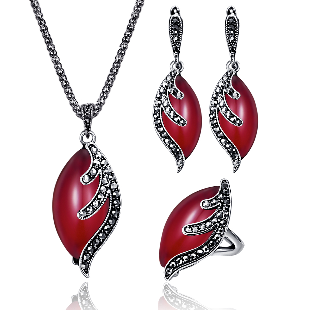 Turkish Ethnic Jewelry Sets For Women Antique Silver Black ...