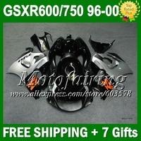 + зализа для SUZUKI GSXR 600 750 1996 1997 1998 серебро черный 1999 2000 L266 GSX R600 R750 SRAD черный серебристый 96 97 98 99 00