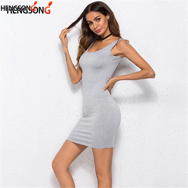 HENGSONG Women Sheath Bodycon Dress Sexy Club Party Mini Dress Sleeveless Knee-Length Spaghetti Strap Dress Vestidos Plus Size