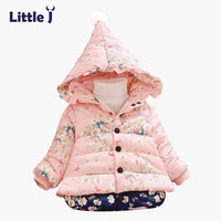 Little J Thick Winter Snow Wear Floral Jacket Boys Girls Baby Padded Coat Warm Fur Ball