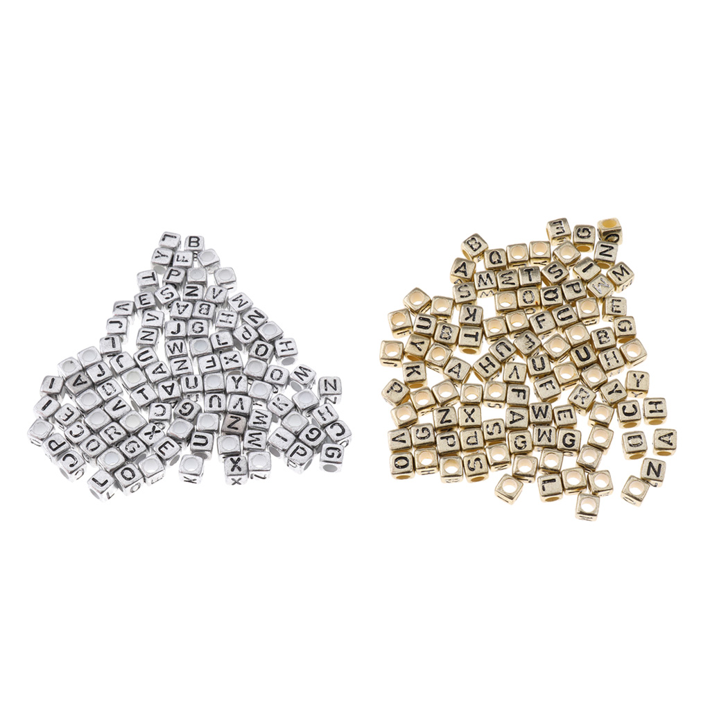 Beads Have An Inquiring Mind 100 Pieces Metallic Acrylic Alphabets Letter Cube Beads Pony Beads Silver/gold To Prevent And Cure Diseases