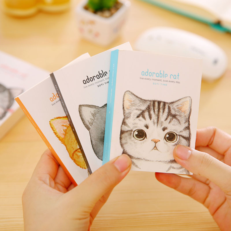 Korean Stationery Cute Cat Writing Pad Mini Paper Notebook Creative Words Portable Notebook Office & School Supplies