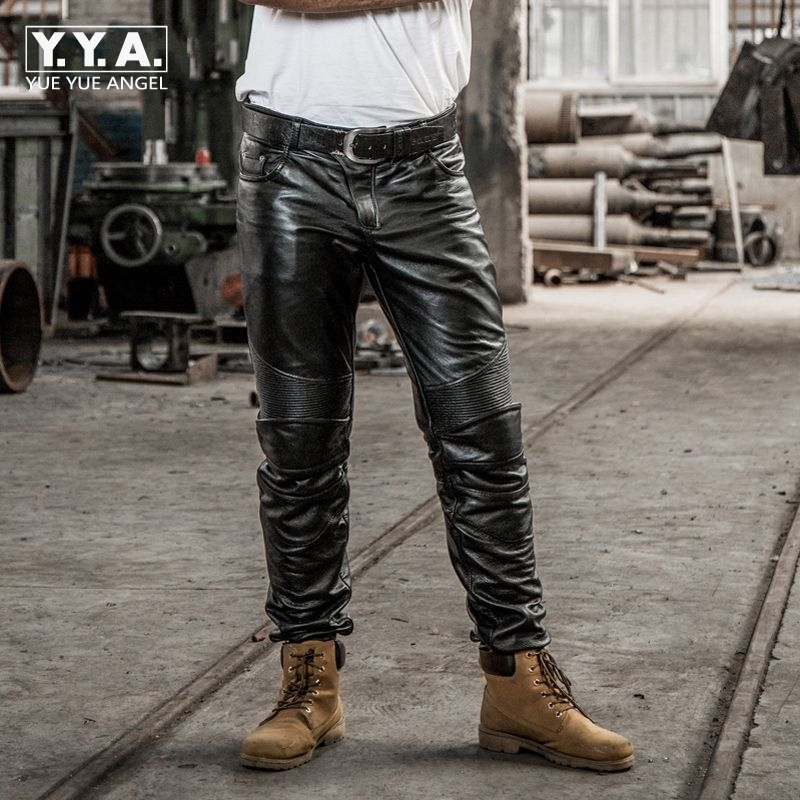 Genuine Leather Cow Mens Mid Waist Straight Long Pants Male Trousers Motorcycle Biker Regular Brand High Quality Plus Size Black