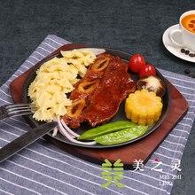 Western Food Simulation Iron Plate T-bone Steak Food Model Western Restaurant Display Dish Handicraft Artificial Props Display