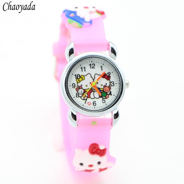 Children Cartoon Hello Kitty Watches Cool 3D Rubber Strap Kids Watch Quartz Watc