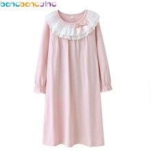 Новые кружевные ночные рубашки для девочек, хлопок, длинные рукава, платья для сна, пижамы принцессы для девочек, детские пижамы, платье для девочек