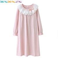 2018 neue Mädchen Lace Nachthemden 100% Baumwolle Langarm Schlaf Kleider Mädchen Nachtwäsche Kleid Kinder Pyjamas Kleid für Mädchen