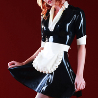 Maid Latex Dress Back Zip Sexy Costumes Rubber Uniform Skirt&Apron