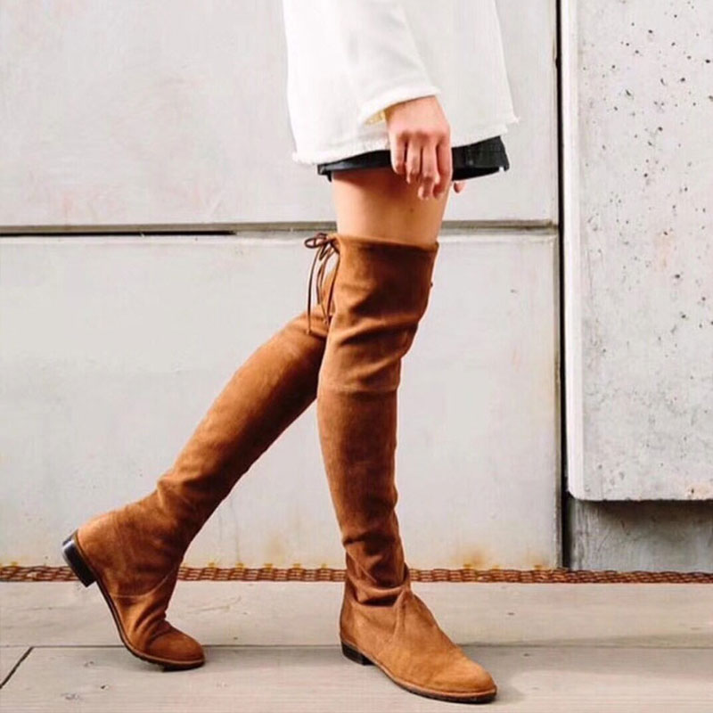 Brown Faux Suede Women Over The Knee Boots Popular Ladies Winter Hight Heel Boot Women Ladies Suede high heels Size 35-41