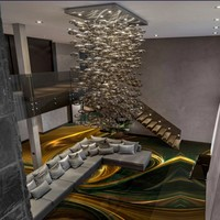 Free Shipping Custom 3D Fancy Fractal Art Floor Sticker Shopping Mall Meeting Room High End Wallpaper