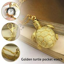 2017 new Vintage Golden Cute Turtle Form Quartz Pocket Watch clock hour Analog Necklace Pendant Males Girls children Watches Items H3