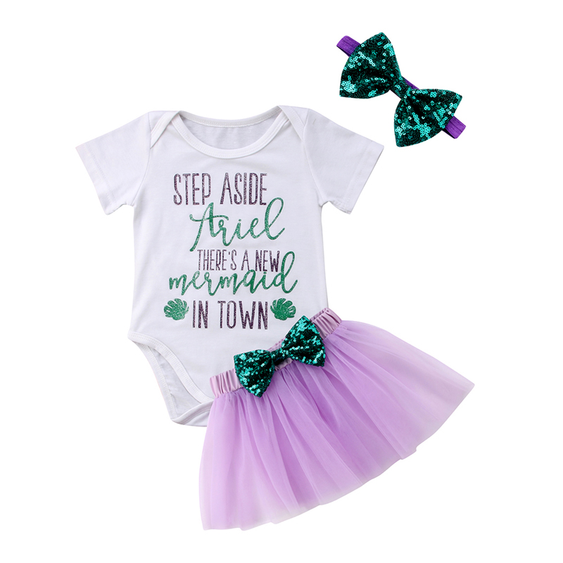 New Casual 3Pcs Newborn Baby Girl Clothes Sequin Mermaid Tops Romper Jumpsuit Skirt Outfits Clothes