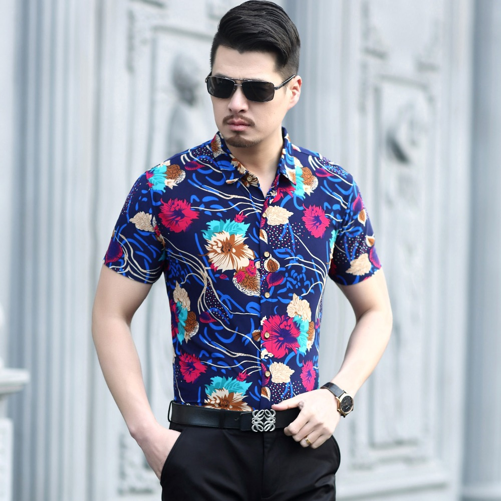New cheap male floral shirt 2017 summer mens casual dress for Mens short sleve dress shirts