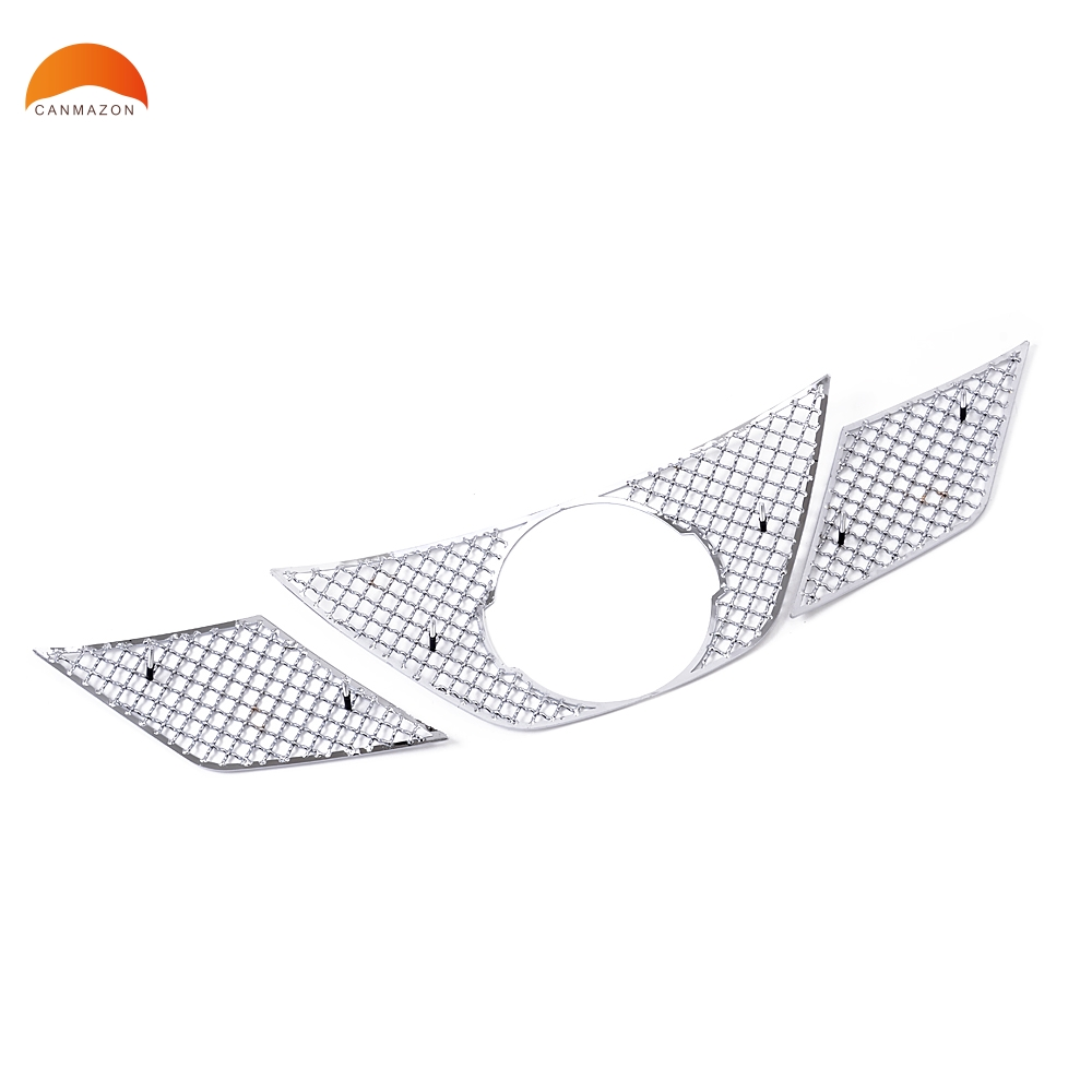 For Nissan X-Trail Rogue 2014-2017 Stainless Steel Racing Grills Near Logo Garish Bezels Front Up Grilles Trims Accessories 3pcs stainless steel front bottom center grille grill mesh cover trims for nissan altima teana 2013 2014