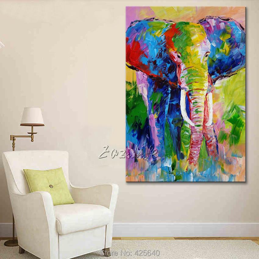 Handgemalte Tier Elephant Lgemlde Auf Leinwand Malerei Fr Wohnzimmer Wandkunst Pop Art Moderne Abstrakte Tapete