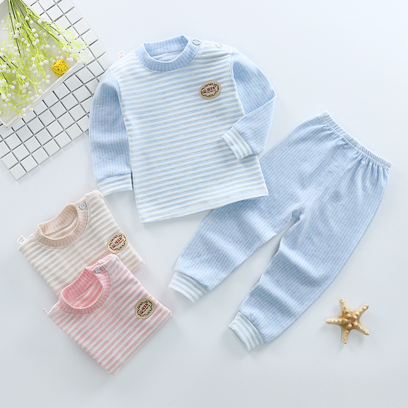 Pajamas Children Set Strip Blue Pink Khaki Baby Long Sleeves Cotton Family Pullover Clothing Sets Kid Autumn Winter Suit in Clothing Sets from Mother Kids