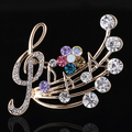 Women's Rhinestone Musical Note Blossom Brooch Pin Jewelry Party Xmas Gift