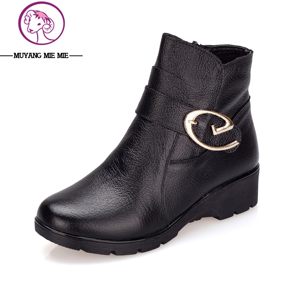 MUYANG MIE MIE Genuine Leather Boots Women New 2017 Winter Black Wedge Women Shoes Boots Fashion Ankle Boots Female Winter Boots