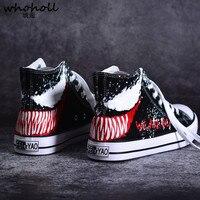 Plus Size 45 Man Unisex Canvas Shoes Venom Print High Top Lace up Causal Flat Shoes Lovers Platform Vulcanize Shoes