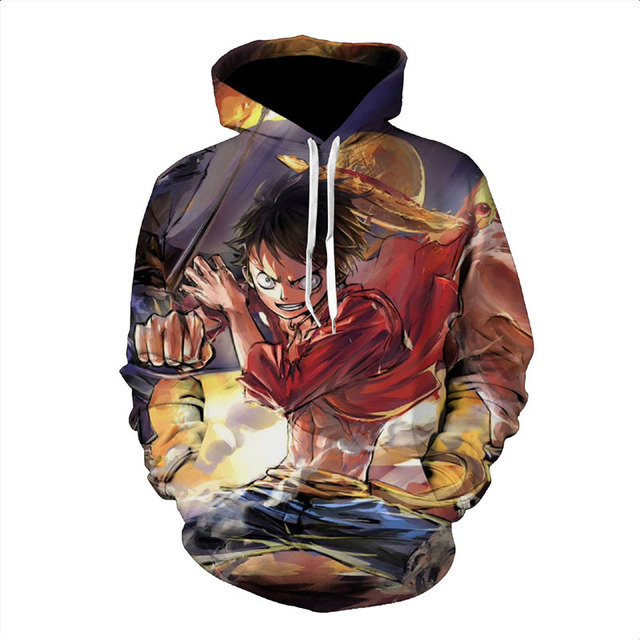 One Piece 3D Print Pullover Sweatshirt Hoodies