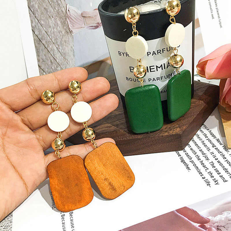 Vintage Geometric Square & Round Green Brown Wood Drop Earrings For Women Korean Minimalism Bijoux Dangle Brincos Gift EB581