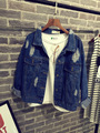 2015 Autumn Spring Women Fashion Boyfriend Loose Frayed Jean Jacket Vintage Short Coat Blue