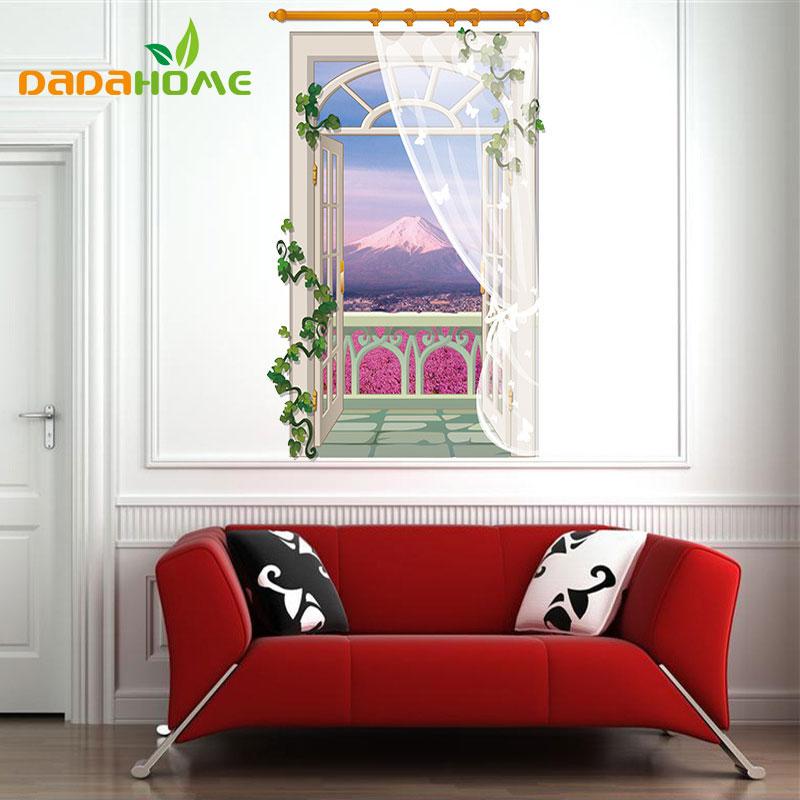 3D Fake Window Lavender Sticker Living Room Sofa Bathroom Bedroom  Background Wall Art Vinyl Home Decor