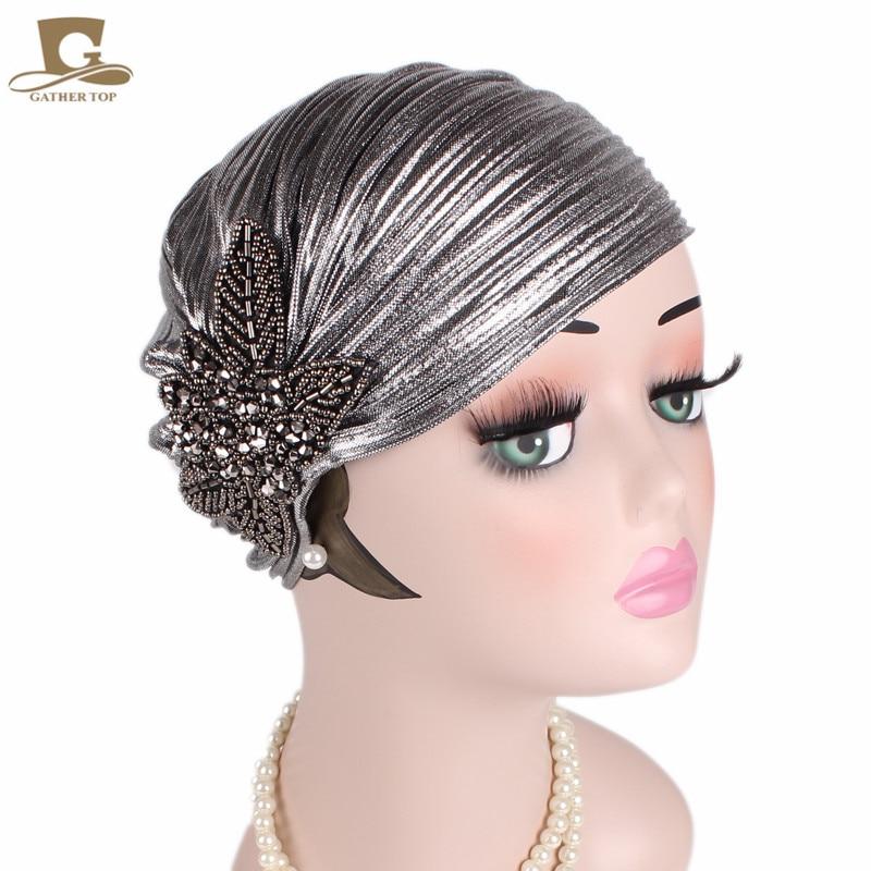 New Women Luxury  Metallic Shinny Ruffle Turban Head Wrap With Beaded Flower Lady Chemo Bandanas Hijab Hair Accessories