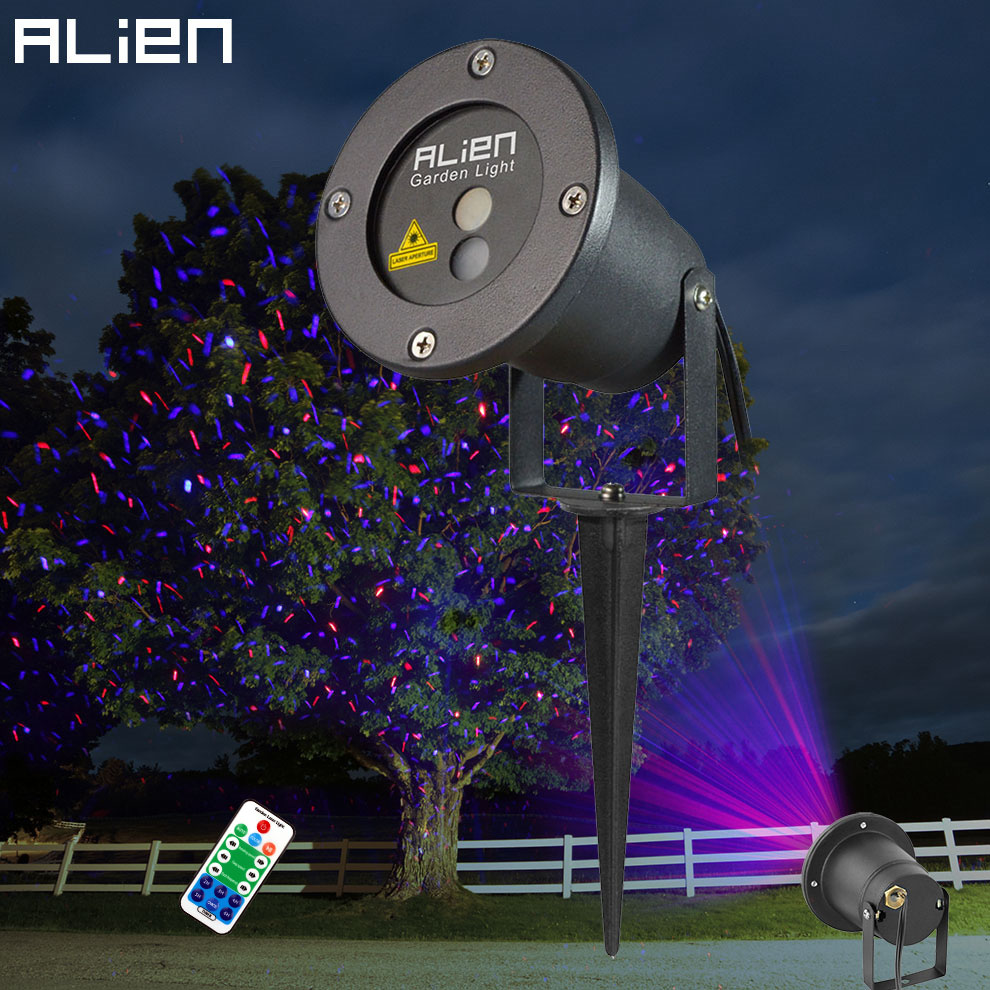 ALIEN Remote Red Blue Moving Christmas Outdoor Laser Light Star Projector Waterproof IP65 Garden Xmas Tree