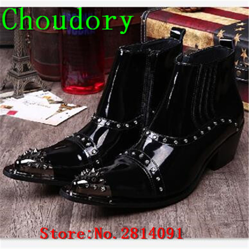 Choudory Height Increasing Leather Pointed Toe Martin Chukka Boots Men High Heels Metal Decoration Solid Mens Zipper Dress Boots