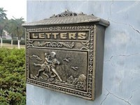 Decorative Cast Iron Mailbox Postbox Mail Box Wall Mounted Wrought Iron Letters Box Metal Garden Supplies